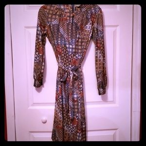 {vintage} Aztec Long Sleeve Wooden Toggle Dress